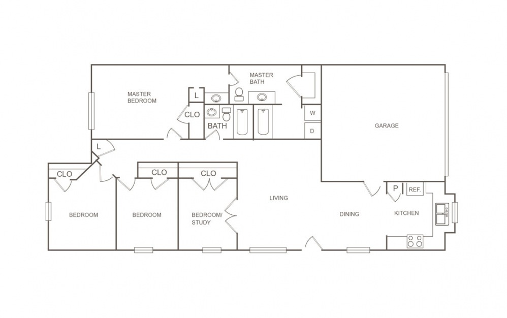 A - 4 bedroom floorplan layout with 2 bath and 1326 square feet (1st floor 2D)