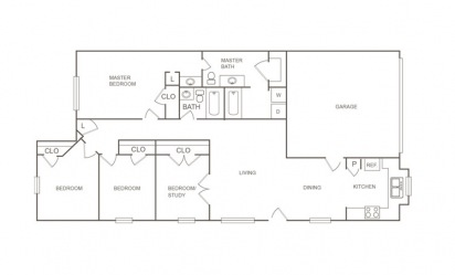 A - 4 bedroom floorplan layout with 2 bath and 1326 square feet