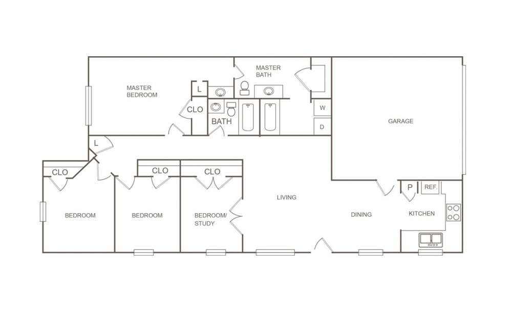 B - 4 bedroom floorplan layout with 2 bath and 1427 square feet (1st floor 2D)