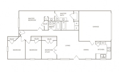 B - 4 bedroom floorplan layout with 2 bath and 1427 square feet